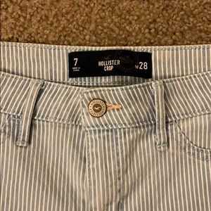 Cute white and light blue stripped Hollister jeans